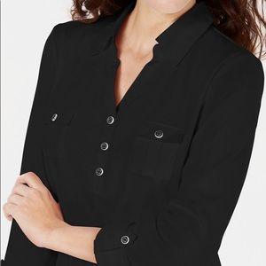 Karen Scott Black 3/4 Sleeve Cotton Polo Shirt 3X